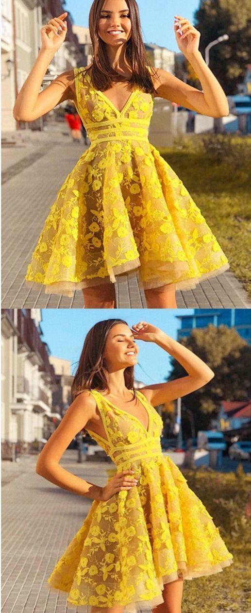 Mode V-Ausschnitt gelbe Applikationen kurzen Tüll Abendkleid Heimkehr Kleid – Mode Kleide