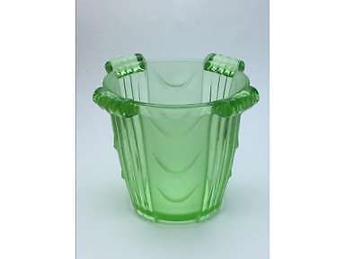 Stolzle Art Deco Green Glass Celery Vase, Hermanova Hut