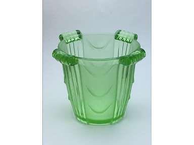 Stolzle Art Deco Green Glass Celery Vase, Hermanova Hut