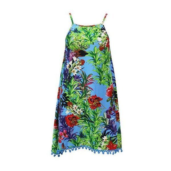 Rotita Printed Pom Pom Embellished Open Back Dress ($26) ❤ liked on Polyvore featuring dresses, multi color, pattern dress, boho style dresses, bohemian style dresses, sleeved dresses and open back dresses
