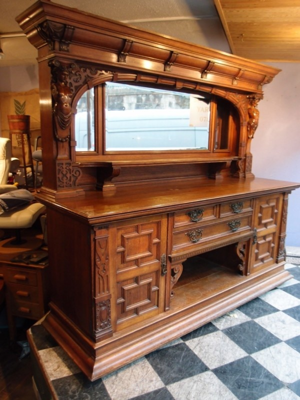 SPECTACULAR ANTIQUE VICTORIAN CARVED OAK MIRROR BACK SIDEBOARD DRESSER