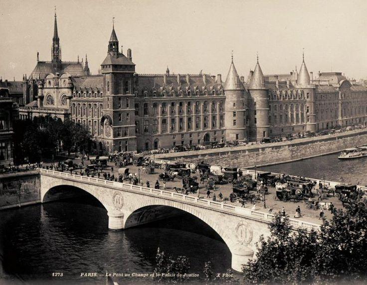Le pont au Change et le Palais de Justice, une jour de grande affluence, vers 1890  (Paris 1er)