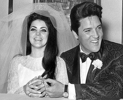 Priscilla and Elvis were married on May 1st, 1967 at the Aladdin Hotel in Las Vegas after an eight-year courtship.