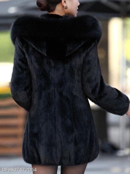5eb0789995c8 Luxury Black Hooded Faux Fur Coat - berrylook.com