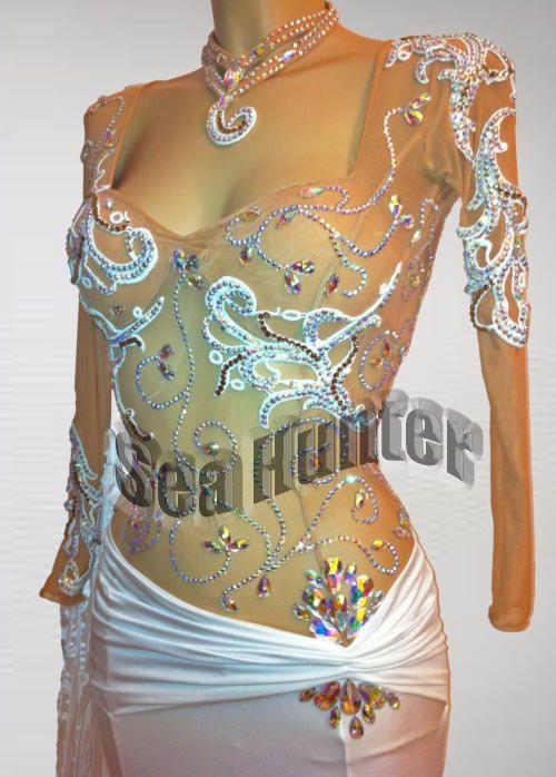 Ballroom Everday Standard Tango Waltz Dance Dress US 8 UK 10 Skin White Color