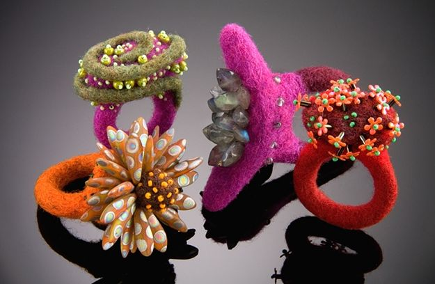 shelley jones metal and felt jewelry | Daily Art Muse