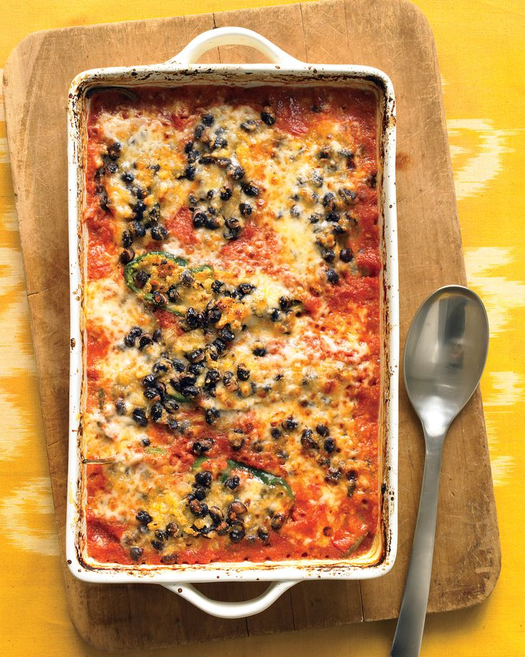 Smaller and spicier than their bell-pepper cousins, poblanos are good for stuffing. The cornmeal, black beans, cheese, and aromatics make the perfect filling.