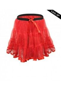 Crazy Chick Girls 2 Layers Red TuTu Skirt 18 Inches Long