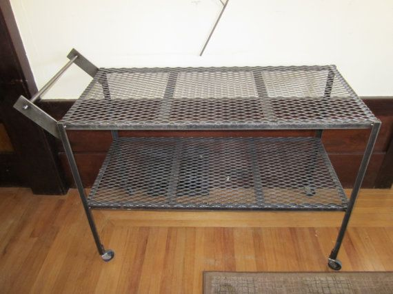 Industrial gardening rolling sun cart made of steel with expanded metal shelves and acme thread handle. on Etsy, $225.00