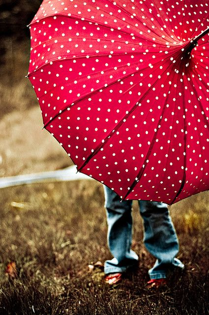Very cute red and white polka dot umbrella. I would want, and I would use this a lot in the fall.