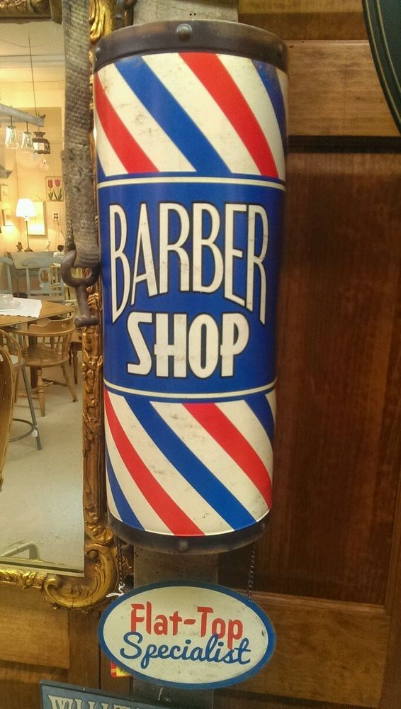 3D BARBER SHOP POLE Flat Top SIGN Shave Oster Clippers ...