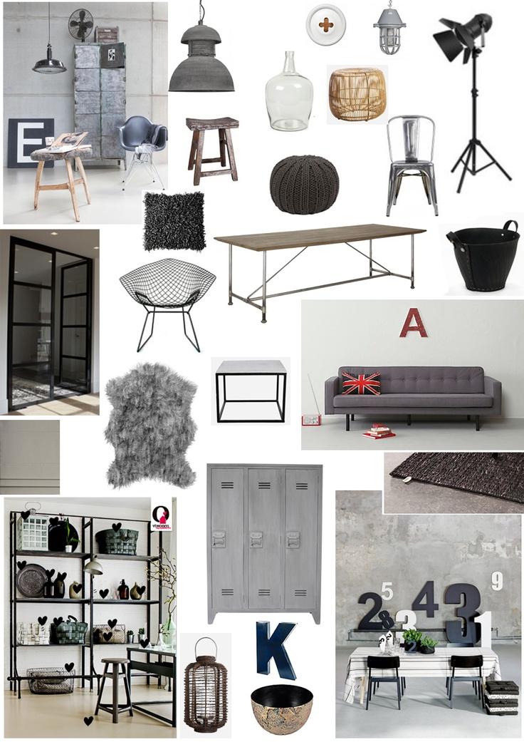 Industrieel interior/interieur moodboard