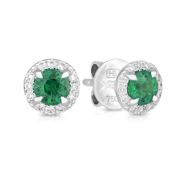 18ct White Gold Round Emerald Earring | Hardy Brothers Jewellers