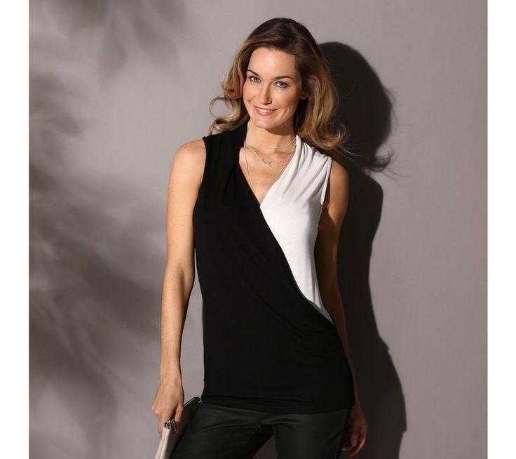Dvoubarevná halenka s efektem překřížení | blancheporte.cz #blancheporte #blancheporteCZ #blancheporte_cz #shirt