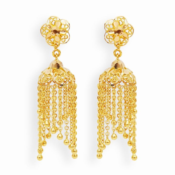 Earrings | Gold Jimikki With Hangings | GRT Jewellers