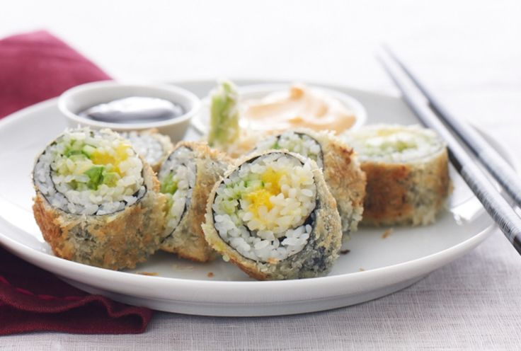 Tempura Sushi Rolls with Spicy Mayo