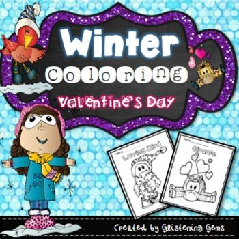 Winter Coloring: Winter & Valentine coloring pack - plenty of fun for the kids in your class. This Winter coloring pack includes a variety of Winter & Valentine's Day pictures for your students to decorate and color. Each Winter coloring page also has a title that the students can color.There are 30 Winter coloring pages included in this kit.