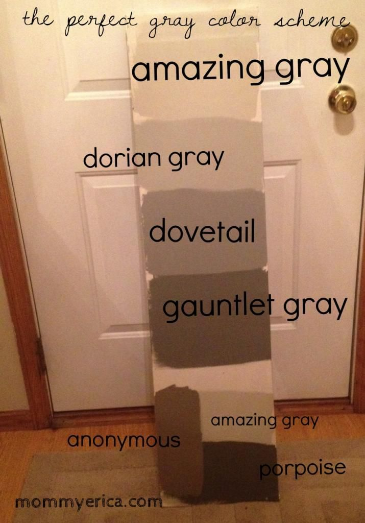 The best Gray paint colors. www.mommyerica.com Sherwin Williams, amazing gray, dorian gray, dovetail, gauntlet gray, porpoise, anonymous