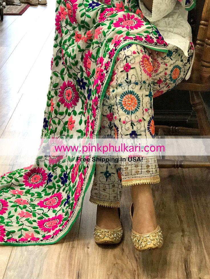 Shop Online in USA Phulkari Dupatta and Pants only at www.PinkPhulkari.com