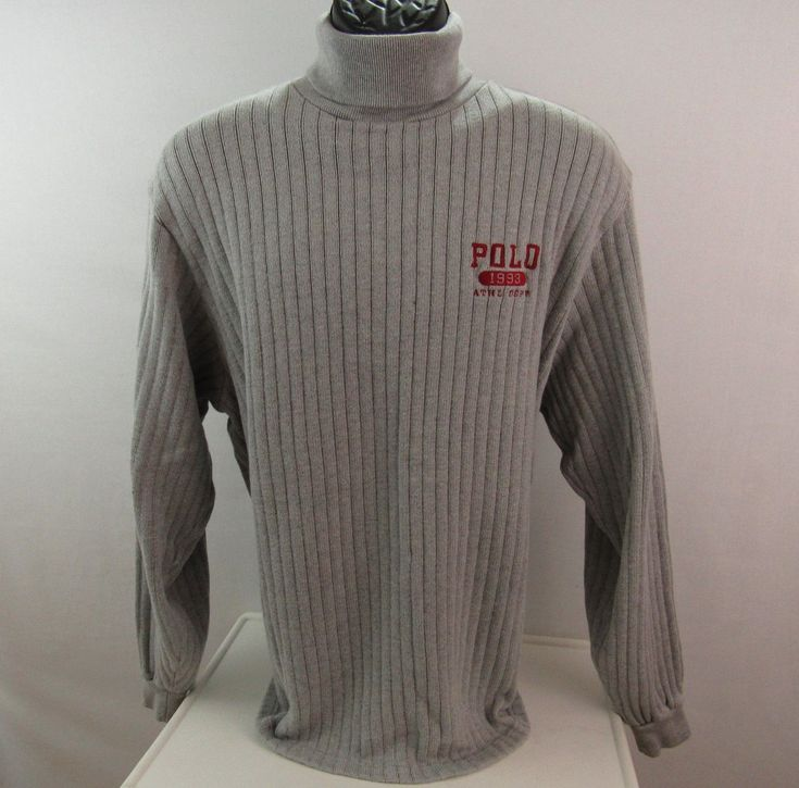 Polo Sport Ralph Lauren Gray Ribbed Turtleneck Sweater Size M