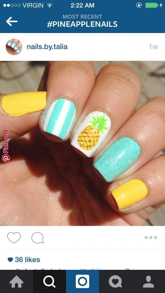 Summer Nail Designs Pinterest Pictures Pineapple Nails Nail Art In