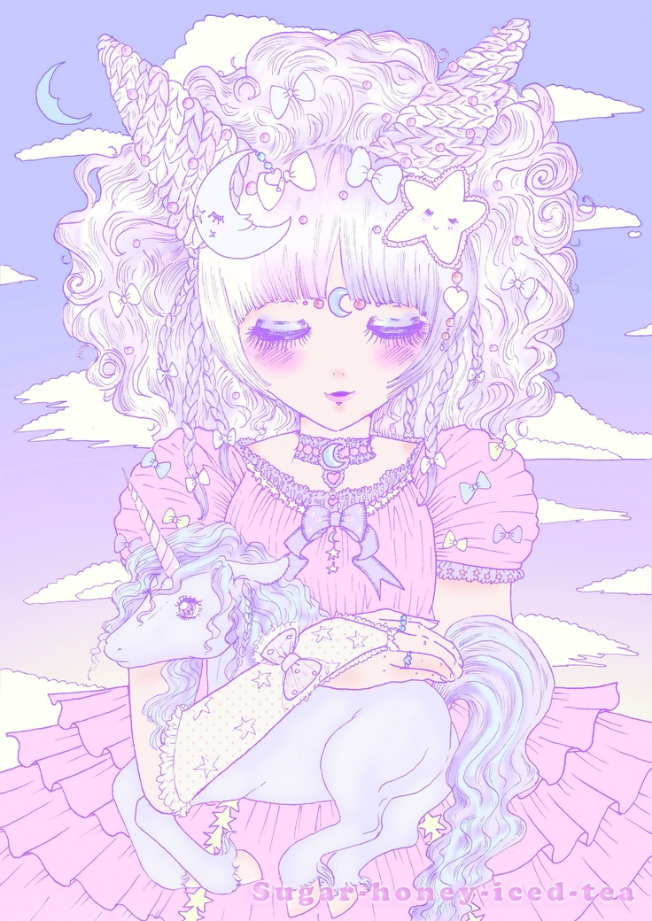 My sweet unicorn girl illustration with baby unicorn ^u