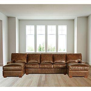 Restoration Vintage Leather Craftsman Full Grain Leather Sectional Sofa