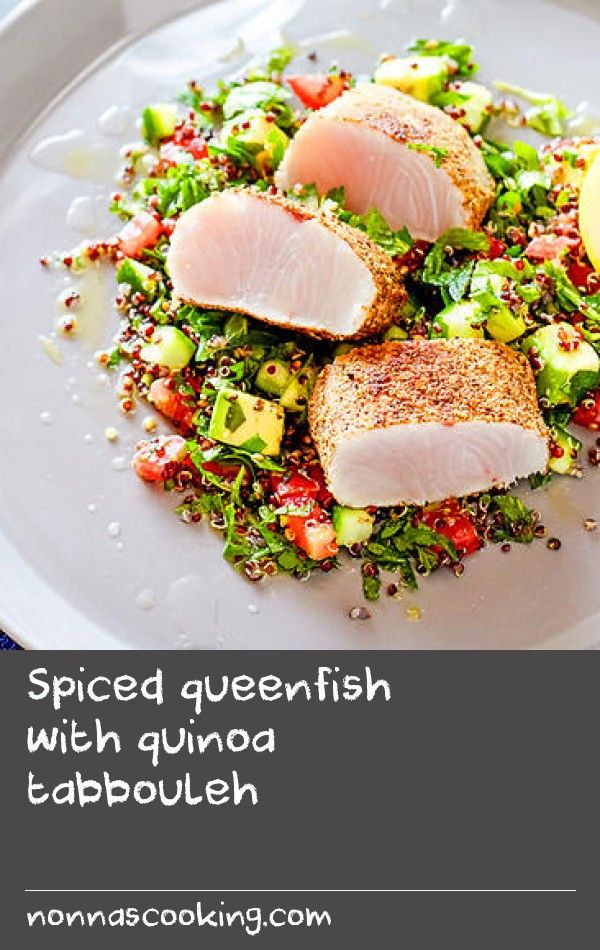 Spiced queenfish with quinoa tabbouleh | Chef Pete Evans packs a flavoursome punch with this recipe for spiced queenfish. Finished off with a twist on your traditional tabbouleh, this is a great summer-time meal.