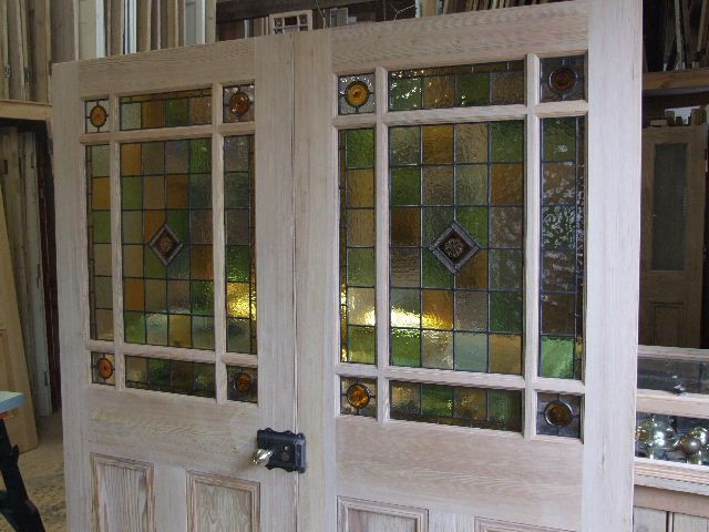 door dividers | stained glass pitch pine room dividers