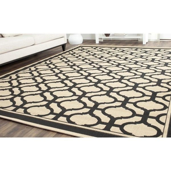 Martha Stewart Tangier Cream/ Black Indoor/ Outdoor Rug ($104) ❤ liked on Polyvore featuring home, rugs, ivory, ivory area rug, woven rug, black area rug, contemporary modern area rugs and black geometric rug