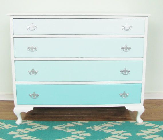 Ombre French Vintage Dresser Turquoise Blue 4 Drawer And White Hand Painted Silver Hardware Aqua Furniture