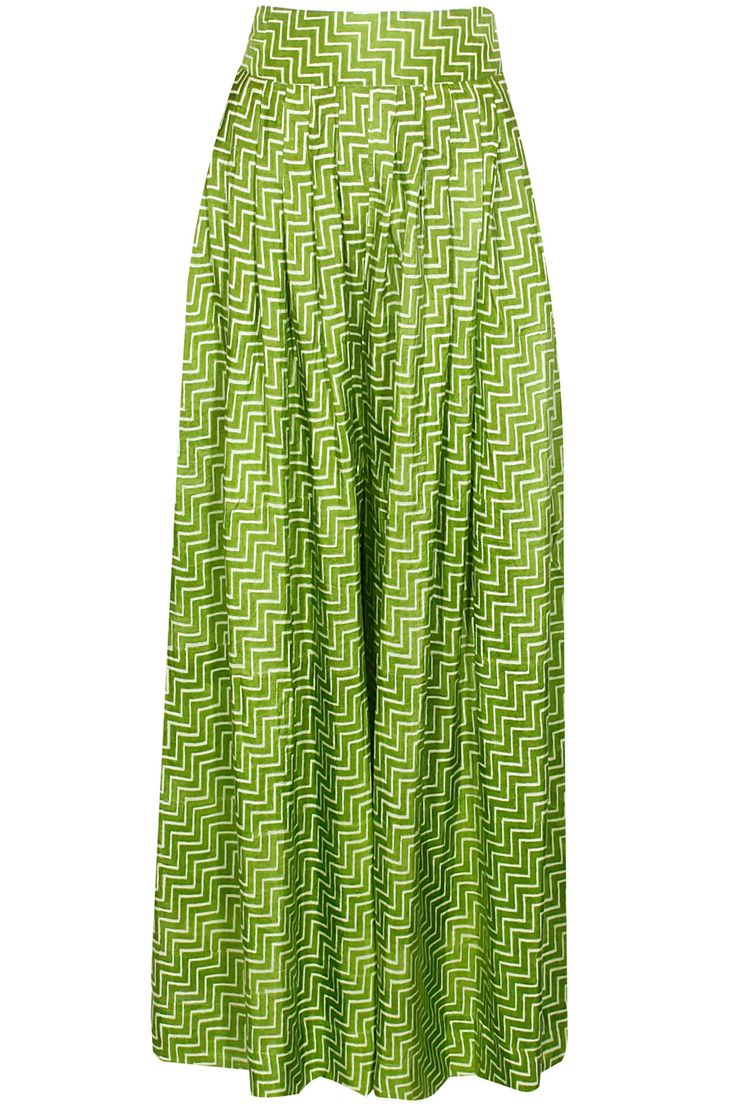 Mehendi zigzag panel pleated palazzo pants available only at Pernia's Pop Up Shop.