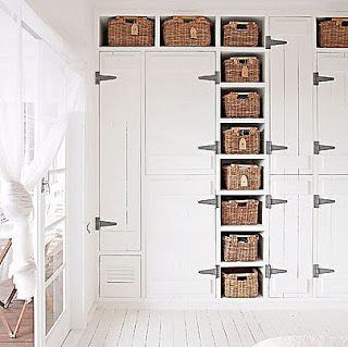 Wall closet by Brabourne Farm -- love the mix of open shelves with doors :D