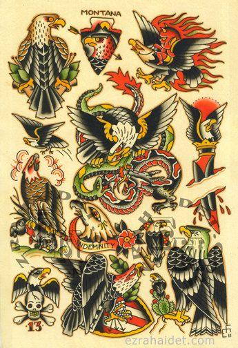Traditional Tattoo Flash Print 2011 Eagle by EzraHaidetTattooer, $15.00