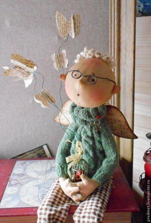 Купить Мысли-бабочки - ангел, коллекционная кукла, кукла ангел, мечтатель, мыслитель, мысли, бабочки