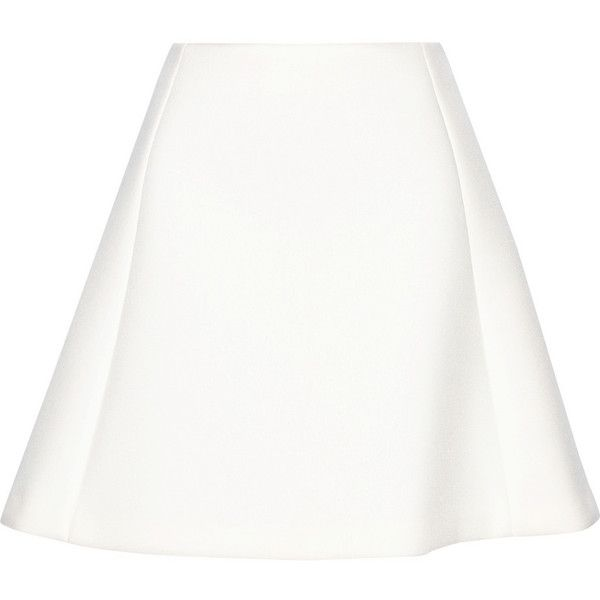 Neil Barrett Scuba-jersey mini skirt ($248) ❤ liked on Polyvore featuring skirts, mini skirts, white, bottoms, neil barrett, white jersey knit skirt, short mini skirts, short skirts and white skirt