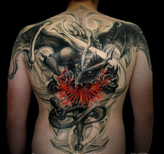 Angry dragon tattoo with red shading