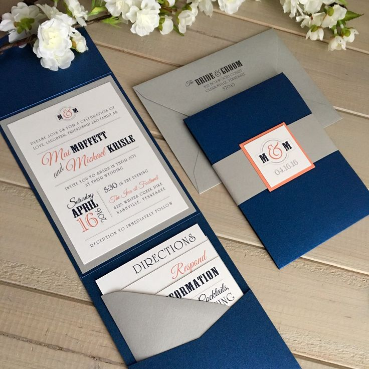navy and coral wedding invitations modern by inspirationidodesign - Navy And Coral Wedding Invitations