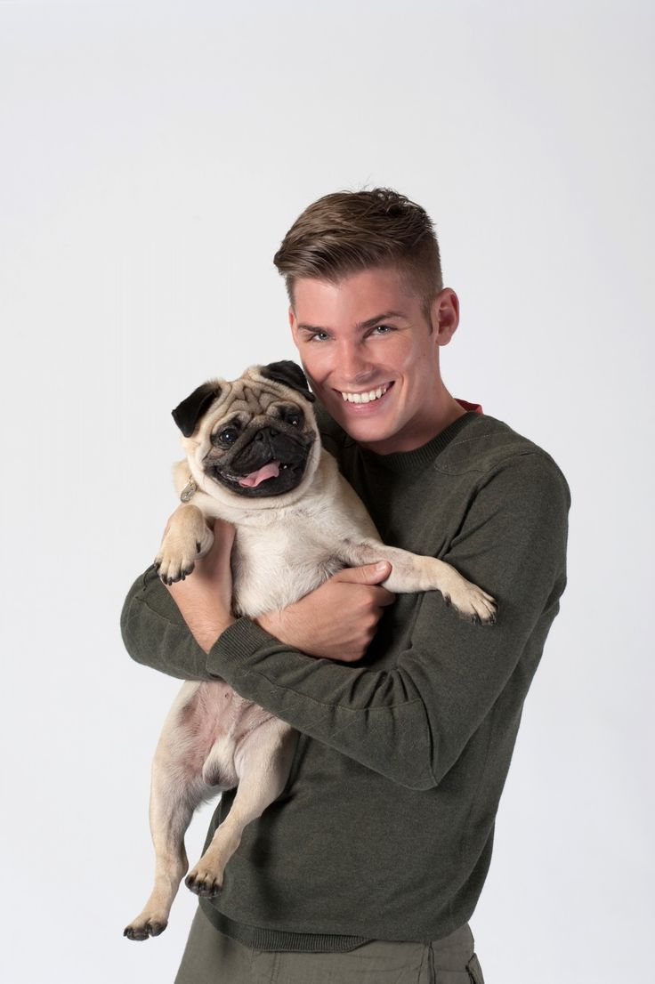 HOLLYOAKS STARG KIERON RICHARDSON AND HIS PUG