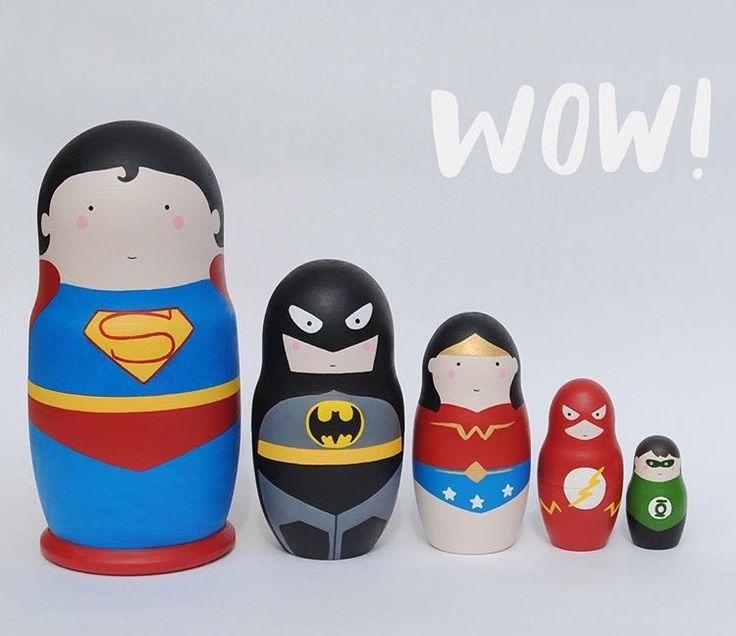 Justice league set of 5 wooden hand painted matryoshka dolls. Superman. Betman. Wonder Woman. Flash.