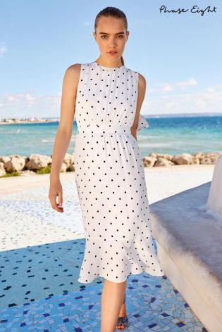 89227b547fe Buy Phase Eight Ivory Navy Alison Spot Print Dress from the Next UK online  shop
