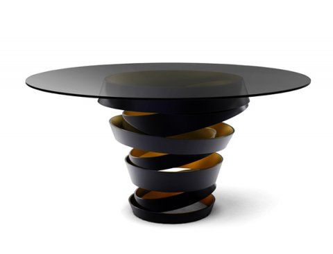 Intuition Dining table by KOKET | The two tone metal ribbon of the Intuition dining table evokes the mysterious and divine feminine instinct. Carefree & unexpected swirls are guided by emotions and desires. #diningtable #diningroom #luxurydesign http://www.bykoket.com/guilty-pleasures/casegoods/intuition-dining-table.php