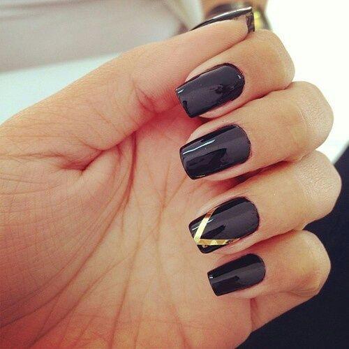nails, black, and gold εικόνα