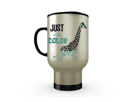 Stainless Steel Coffee Travel Mug, Unique Travel Mugs, Custom Travel Mug Funny Travel Mug, Giraffe Mug, Travel Insulated Coffee Mug,14 oz