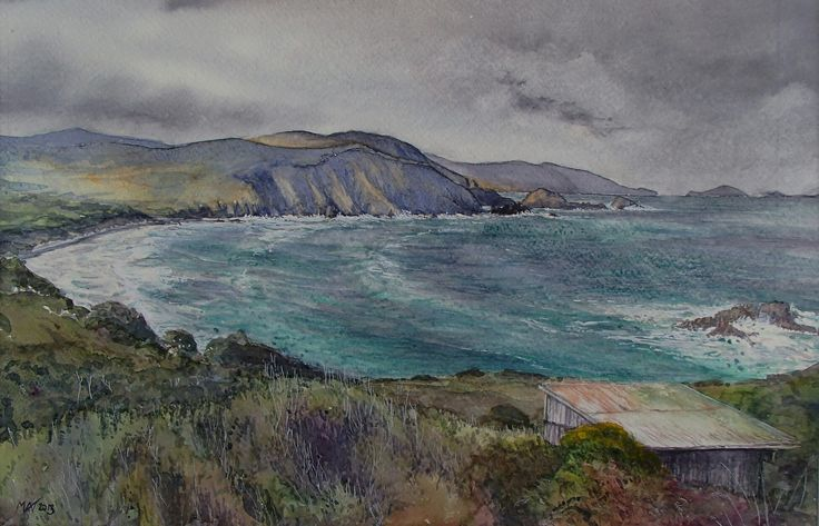 Lighthouse Bay, Cape Bruny. Bruny Island. Tasmania. Watercolour. Melhillswildart.