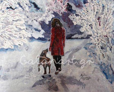 Ζωγραφική :ακρυλικό σε καμβά Διαστάσεις: 60χ50 cm  Tίτλος :Η Ελπίδα στο χιόνι , με τον πιστό της φίλο Kωδ:221-2018  Αgathi Galan