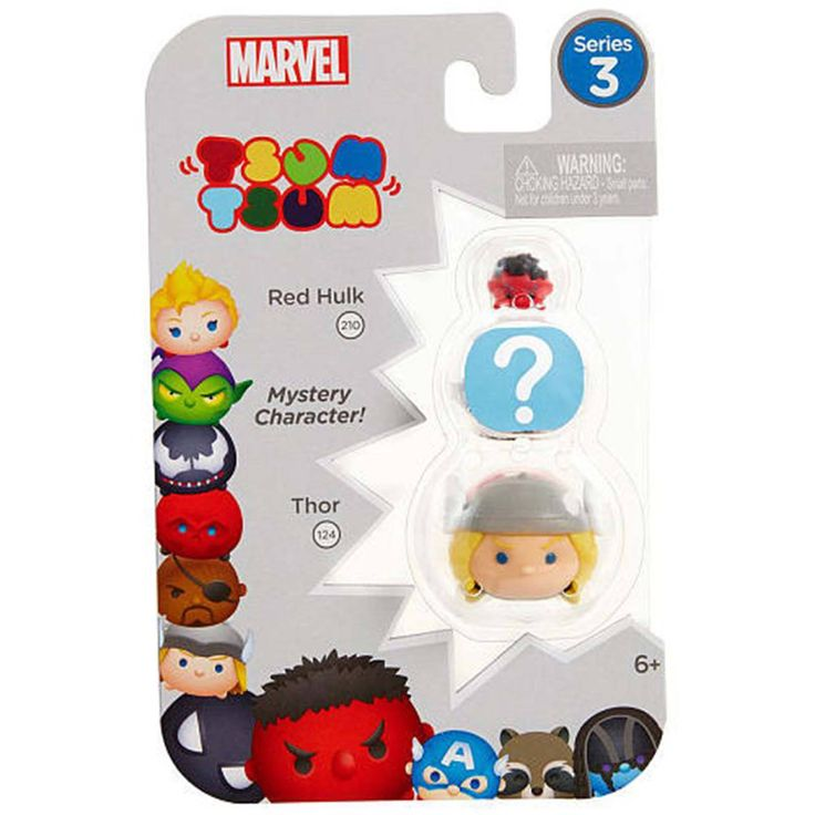Tsum Tsum Marvel Series 3 Red Hulk Mystery Thor 3 Figure Set