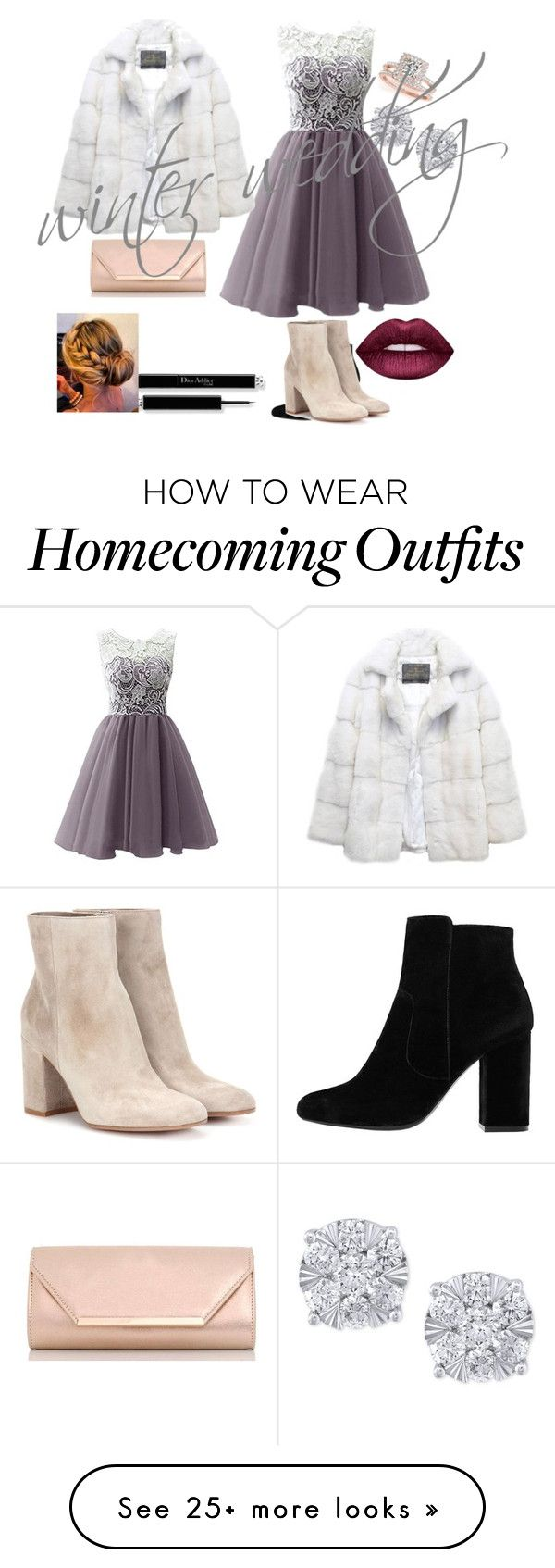 """""""#winterwedding"""" by dixielou321 on Polyvore featuring Lilly e Violetta, MANGO, Gianvito Rossi, Dorothy Perkins, Allurez, Effy Jewelry and Lime Crime"""