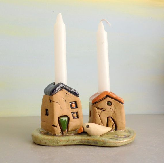 Candle stick holder  Shabbat Candle holders  Romantic gift pair of houses  Jewish Shabbat candle sticks holders  Ceramic candle holders & The 25+ best Shabbat candles ideas on Pinterest | Shabbat candle ... azcodes.com