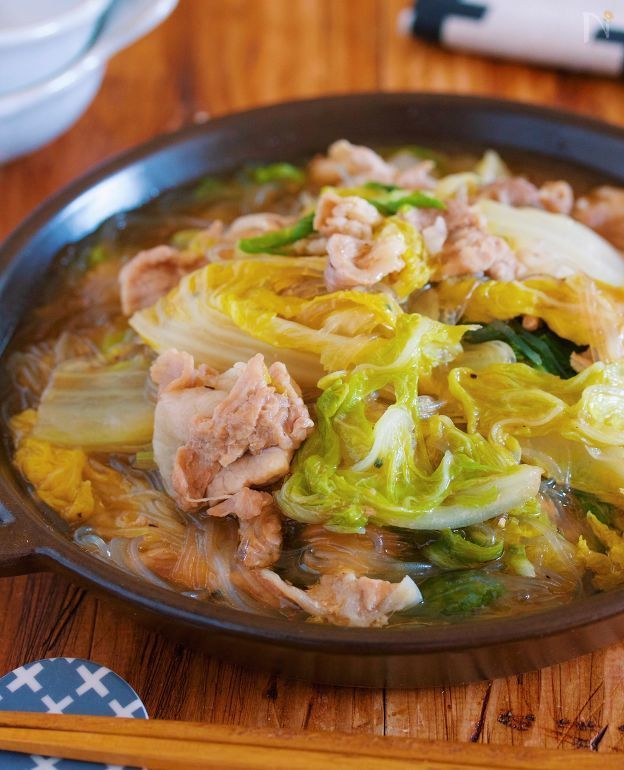 重ねて放置♪包丁不要『豚バラ白菜とはるさめの上海風とろみ煮』 by Yuu